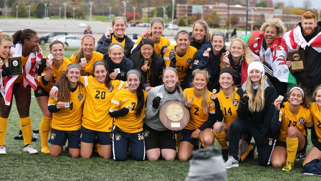 For the third straight season, Schoolcraft College's women's soccer team won the NJCAA Region XII title.
