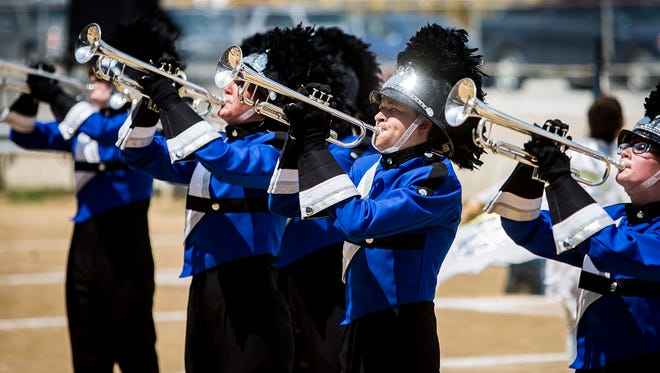 Centerville High School competes during Band Day at the Indiana State Fair Saturday afternoon.