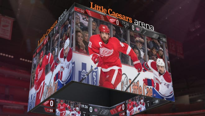 Concept art of Little Caesars Arena's centerhung scoreboard system, the largest in the world, according to the Detroit Red Wings.