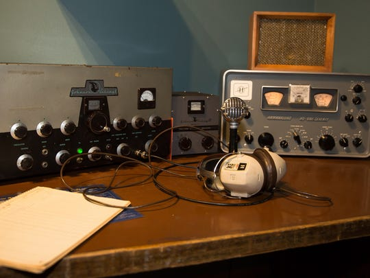 A 1950s amateur radio set up, also known as a ham station,