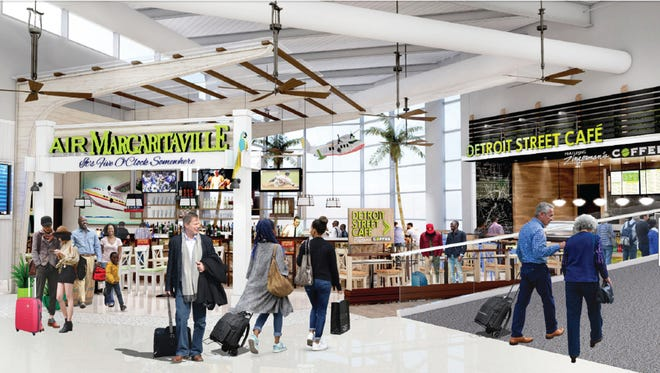 The Wayne County Airport Authority Board, which manages the Detroit Metropolitan airport, announced Monday via a press release that it has awarded 10-year contracts to four concessionaires to operate 15 foot and beverage concepts in the terminal, including Air Margaritaville.   Photo courtesy Wayne County Airport Authority