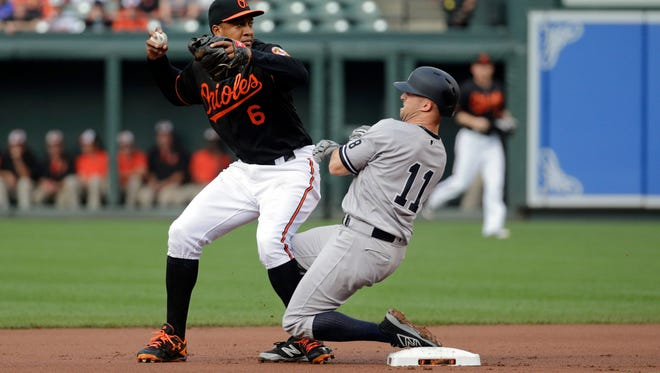 Baltimore Orioles second baseman Jonathan Schoop, left, throws to first base for a double play after forcing out New York Yankees' Brett Gardner on a ground ball by Carlos Beltran in the first inning of a baseball game in Baltimore, Friday, June 3, 2016.