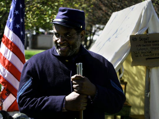 Re-enactor George Smith of Murfreesboro portrays a corporal in the 13th U.S. Colored Troops, which fought in the Battle of Nashville during the Civil War, at the Tennessee History Festival at Bicentennial Capitol Mall State Park on Oct. 14, 2006.