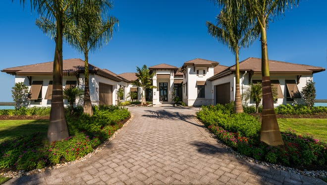 The Glenbrook is one of three grand estate models which can be built in Lugano at Miromar Lakes.