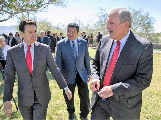Jon Barela, Borderplex Alliance CEO, from left, Juárez Mayor Armando Cabada and El Paso Mayor Dee Margo promoted the Borderplex's Amazon HQ2 proposal in October. The area's proposal did not make Amazon's finalists list of 20 metro areas.