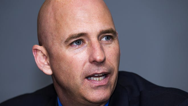 Pinal County Sheriff Paul Babeu, a candidate for the 1st Congressional District, addresses the Arizona Republic editorial board on Oct. 3, 2016.
