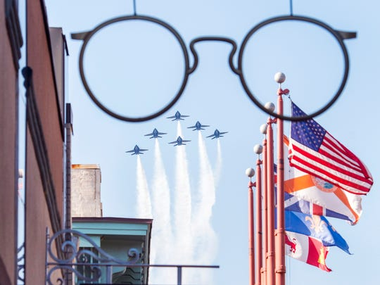 The Blue Angels flyover Palafox Street in downtown as they return to the City of Five Flags and their home base at the Pensacola Naval Air Station on Monday, March 20, 2017.