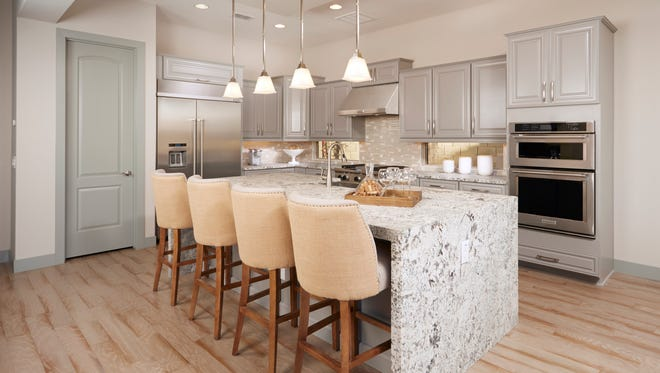 A model kitchen in the Catalina home in Monarch at Tierra Del Sol luxury community in Peoria.