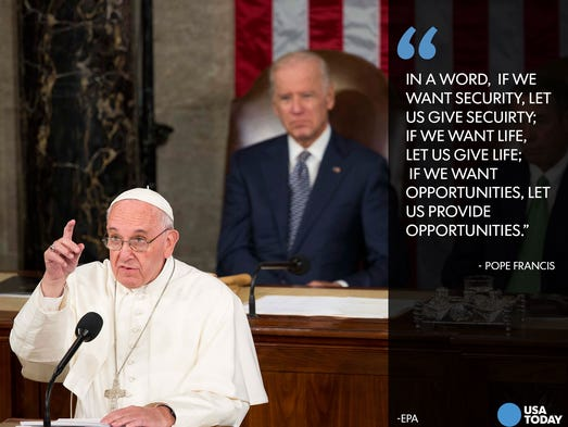 Image result for photos of pope talking about immigration