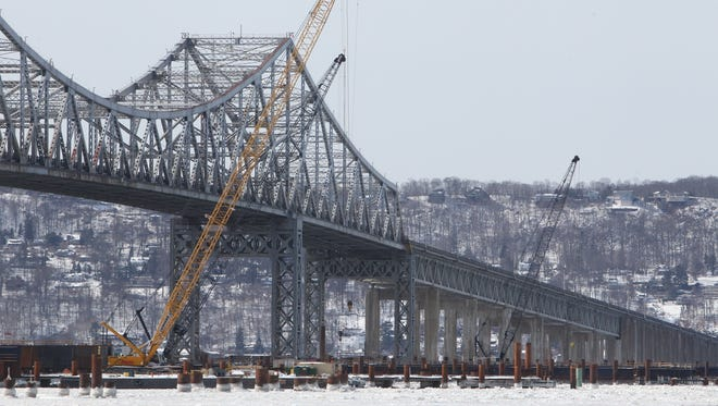 Cold weather and ice in Hudson River will limit construction activities this week for the new Tappan Zee Bridge Feb. 16, 2015.