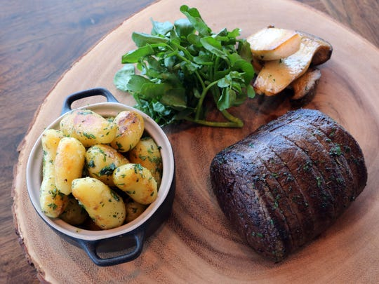 Grass-fed filet mignon with fingerling potatoes at