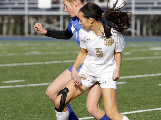 Laurel Vargas (5), shown in a sectional win over Trumansburg, is Notre Dame's top scorer with 23 goals.