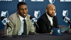 Memphis Grizzlies draft picks Jaren Jackson Jr., left,