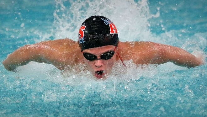 Arrowhead's Drew Nixdorf swims the Butterfly Stroke during the Varsity 200 Medley Relay event of his teams meet against Brookfield Combined in Arrowhead High School Thursday, Jan. 5, 2016, in Hartland, Wisconsin.