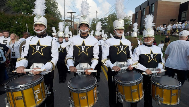 Vanderbilt band members march during the Star Walk before the home opener against South Carolina on Sept. 1.