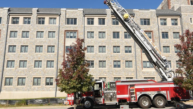 Building A, part of Marist's College new north housing complex on campus, was evacuated after alarms detected carbon monoxide.