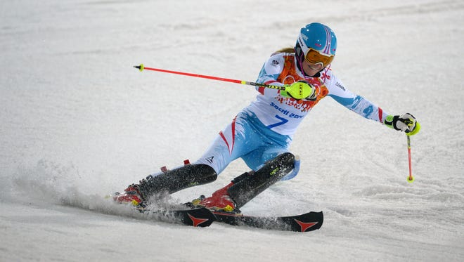 Marlies Schild (AUT) competes in her first run of the slalom during the Sochi 2014 Olympic Winter Games at Rosa Khutor Alpine Center on Feb. 21.