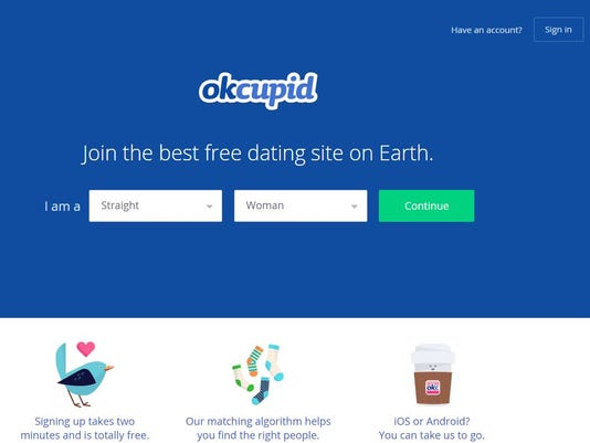 A screenshot shows the homepage for OKCupid, an online dating site.