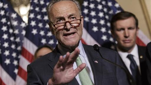 Sen. Charles Schumer, D-N.Y., joined by, Sen. Chris Murphy, D-Conn., criticizes Republicans as allies of the gun lobby as Democratic senators call for gun control legislation in the wake of the mass shooting in an Orlando LGBT nightclub this week, Thursday, June 16, 2016, during a news conference on Capitol Hill in Washington.