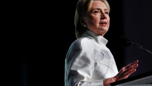 Democratic presidential candidate Hillary Clinton speaks at the Congressional Black Caucus Foundation's Phoenix Awards Dinner at the Washington Convention Center in Washington, Saturday, Sept. 17, 2016. (AP Photo/Pablo Martinez Monsivais)
