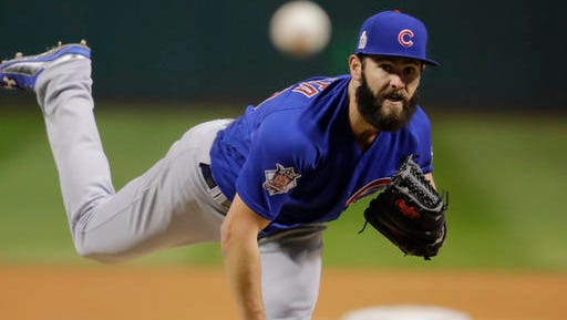 Chicago Cubs starting pitcher Jake Arrieta throws during the first inning of Game 2 of the Major League Baseball World Series against the Cleveland Indians Wednesday.