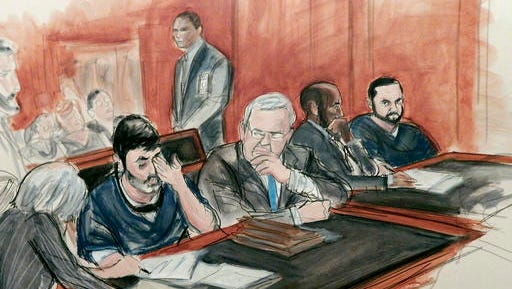 FILE - In this Dec. 17, 2015, courtroom file sketch, Efrain Antonio Campo Flores, seated second from left, has an emotional reaction as he is flanked by his attorneys while appearing with his cousin Franqui Francisco Flores De Freitas, far right, in Manhattan federal court at their arraignment on cocaine-smuggling charges in New York. On Friday, Nov. 18, 2016, the jury returned a guilty verdict against the two men, who are nephews of Venezuela's first lady. Their conviction came after less than a day of deliberations.
