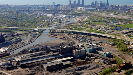FILE-This Friday, May 20, 2005 file photo shows the Mittal Steel mills south of downtown Cleveland pictured. Republican Gov. John Kasich says he's doing everything he can to shed Ohio's reputation as a Rust Belt state. (AP Photo/Mark Duncan, File)