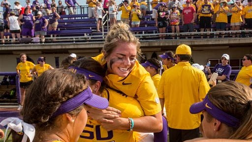 LSU pitcher Carley Hoover (facing) was the winning pitcher in Monday's Regional title game.