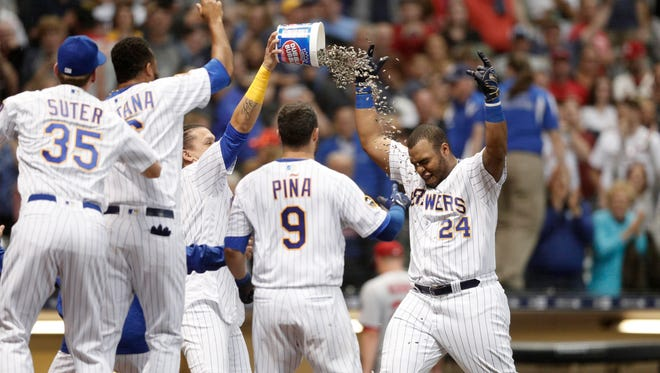 Brewers first baseman Jesus Aguilar celebrates after hitting a walk-off home run during the ninth inning against the St. Louis Cardinals at Miller Park.