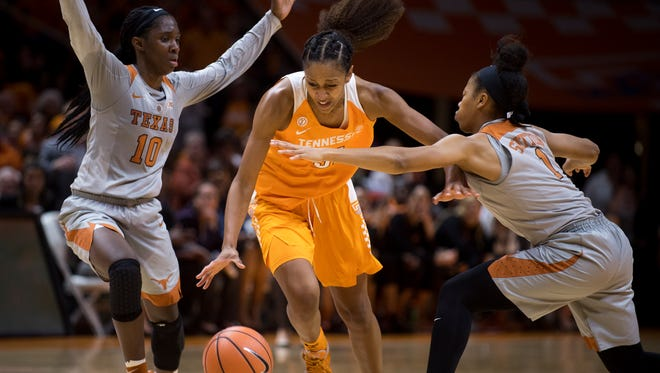 Tennessee's Jaime Nared, shown dribbling between two defenders against Texas earlier this month, scored 28 points to lead the Lady Vols to an 83-71 victory at Stanford Thursday night