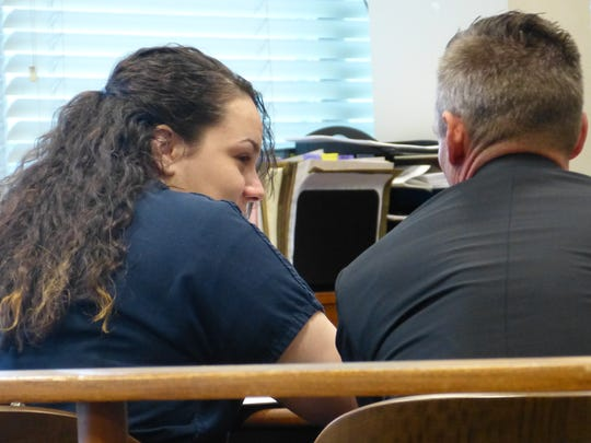 Heather Brown speaks with defense attorney Rob Hammonds before her sentencing Monday in Shasta County Superior Court.