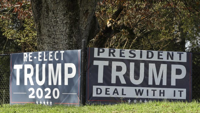 A pro Trump sign is displayed along a highway in Georgia.