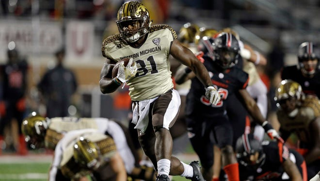 Western Michigan running back Jarvion Franklin runs for a touchdown against Ball State.