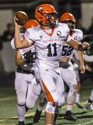 Sophomore quarterback Mariano Valenti (11) helped spark Brother Rice's gridiron resurgence this season.