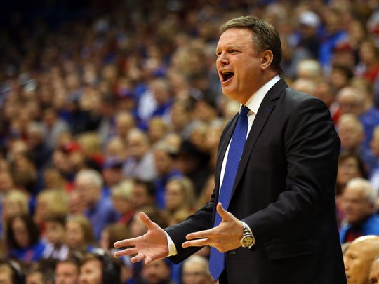 Kansas Jayhawks head coach Bill Self reacts to a play against the Iowa State Cyclones in the first half at Allen Fieldhouse. Mandatory Credit: Jay Biggerstaff-USA TODAY Sports