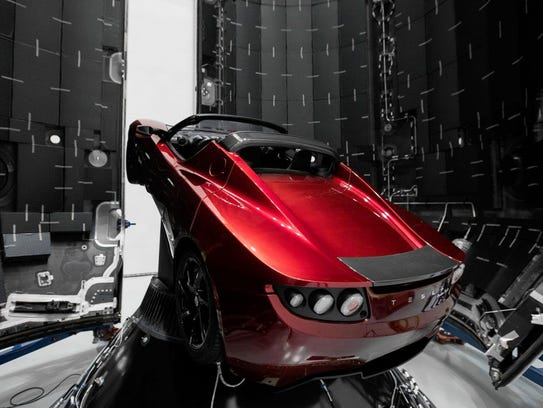 The Roadster's nose is angled upward on its launch
