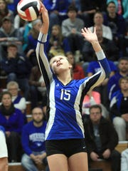 WD 1030 MerrillVB_3.jpg Merrill High School's Katelyn Zelinski tips the ball over the net against West Salem in the WIAA  Division 2 Sectional Semifinal game Thursday in Stevens Point. Photo by Thomas Kujawski/FOR WAUSAU DAILY HERALD MEDIA