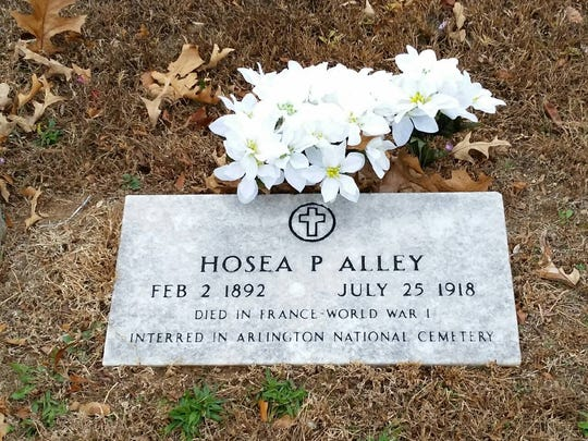 The marker for Hosea Alley, who died on the battlefields of France in 1918. Alley is one of the namesakes of the local American Legion Post.