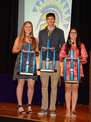 Thomas A. Edison athletes of the year, from left, Hailey Burdick, Nate Chorney and Mackenzie Bonyak.