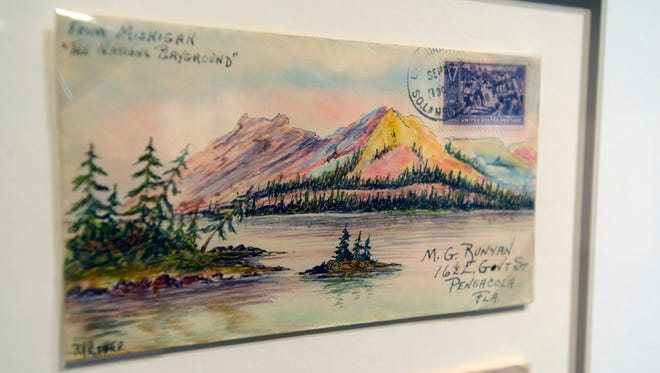 """An example of the envelopes on display at the T.T Wentworth Jr. Florida State Museum with the """"Philately and Friendship: The Art of Ace"""" exhibit."""