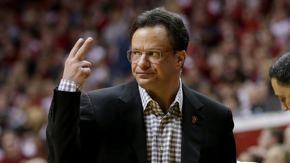 Indiana Hoosiers head coach Tom Crean calls in a play to his players in the second half of their game Saturday, March 7, 2015, afternoon at Assembly Hall in Bloomington IN. The Spartans defeated the Hoosiers 74-72.