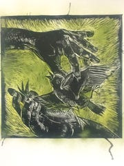 "Artwork by Lura Wilhelm from the ""In Print"" printmakers showcase at the Old City Hall Gallery."