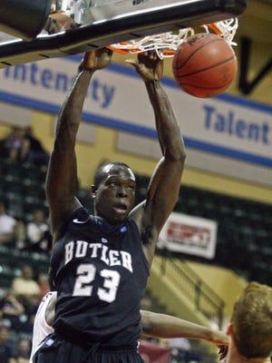 Nov 28, 2013; Orlando, FL, USA;  Butler Bulldogs forward Khyle Marshall (23) dunks the ball in the second half of their Old Spice Classic game against the Washington State Cougars at HP Field House. The Butler Bulldogs beat the Washington State Cougars  76-69. Mandatory Credit: Phil Sears-USA TODAY Sports