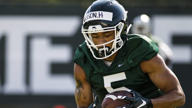 Michigan State receiver Hunter Rison on July 31, 2017 during the Spartans' first practice.