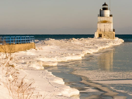 Lake Michigan ice formations along the breakwater pier
