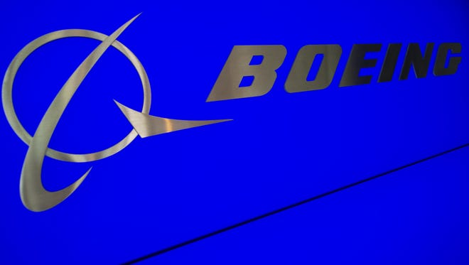The Boeing logo and name are seen inside Boeing's new production facilities in this April 27, 2012, file photo in South Carolina.