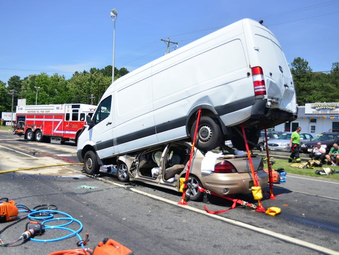 Fire crews from Blades, Seaford, and Laurel worked Tuesday afternoon to free trapped occupants of a vehicle that rear-ended an van on Rt.13 and Concord Road in Blades. EMS crews transported three patients to Nanticoke Memorial Hospital for treatment. Rt.13 northbound was shut down for several hours for clean-up.