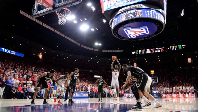 Arizona Wildcats forward Deandre Ayton shoots a free throw during the game against Colorado at McKale Center on Jan. 25, 2018.