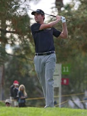 Webb Simpson tees off on the 12th hole at La Quinta County Club during the Humana Challenge, Friday, January 23, 2015.