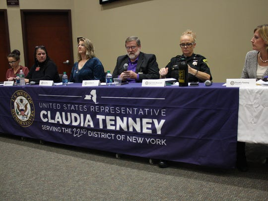 From left, Jessica Dube, Jill Aford Hammit, Alexis Pleus, Alan Wilmarth, Kate Newcomb and Claudia Tenney held an opioid and heroin community forum Tuesday at Binghamton University.